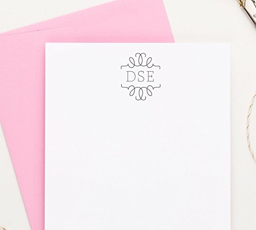 3 Letter Monogram Stationery cards, Monogram Note cards with Envelopes, Monogrammed Stationary Set, Your Choice of Colors, Set of 10 flat note cards and envelopes by Modern Pink Paper