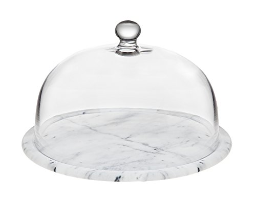 Godinger La Cucina Marble Plate with Glass Dome, 12.00L x 12.00W x 5.00H, Off-white (Dome Marble With Stand Cake)