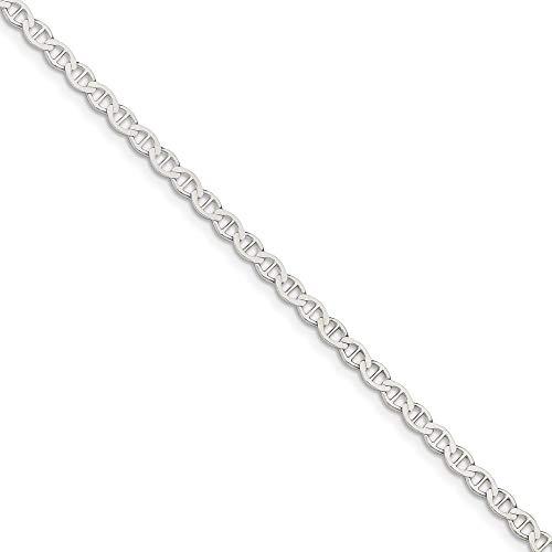Sterling Silver 4 MM Polished Flat Anchor Anklet Bracelet, 9