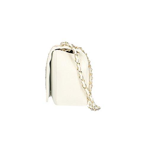 Chicca Borse Piel genuina bolso 28x18x10 Cm Blanco