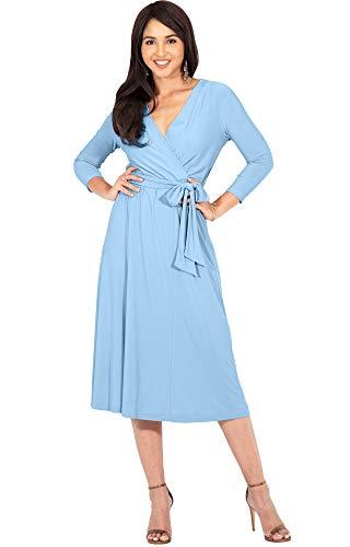 KOH KOH Womens V-Neck 3/4 Long Sleeve Flowy Knee Length Fall Bow Wrap Modest Casual Simple Plain Loose Swing A-line Sun Day Work Office Midi Dress Dresses, Sky Baby Light Blue M 8-10