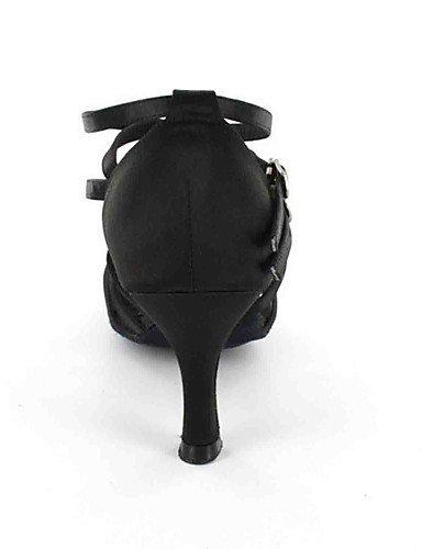 ShangYi Chaussures de danse(Noir / Gris) -Personnalisables-Talon Personnalisé-Similicuir-Latine Black