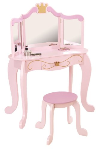 Kidkraft Princess 12.75'' Pink Mirrored Vanity Table with Drawer and Bonus Stool Set for Your Children to Enjoy! This Princess Kids Diva Table and Stool Gives Every Little Princess the Perfect Place to Prepare for Each Day. by KidKraft