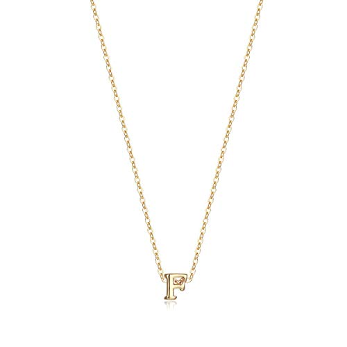 Tiny Initial Necklace, 14K Gold Plated Dainty Letter F Necklace Delicate Small Initial Necklace Personalized Monogram Name Necklace for Girls Women (F)