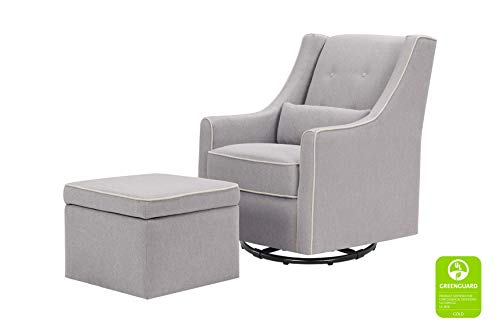 DaVinci Owen Upholstered Swivel Glider with Side Pocket and Storage Ottoman, Grey with Cream Piping (Best Upholstered Glider For Nursery)