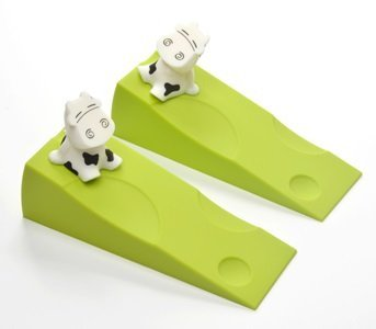 KLOUD City 2 pcs Light Green Silicone Cute Cow Door Stopper Stop