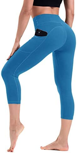HLTPRO Capris Leggings with Pockets for Women – High Waist Tummy Control 4 Way Stretch Workout Fitness Yoga Pants