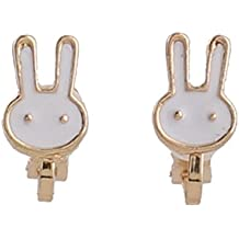 Fashion Cute Small Clover Bowknot Flower Cartoon Clip on Earrings Non Piercing for Girl's Kids