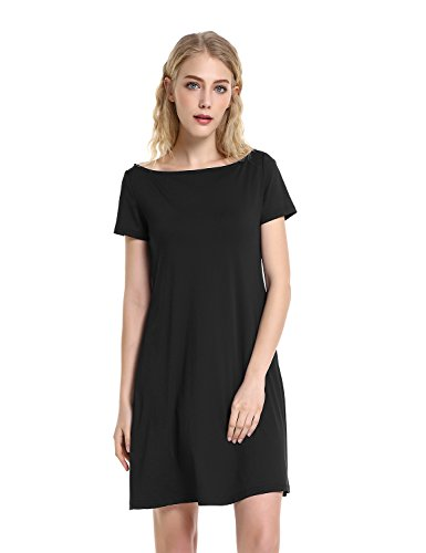 ZAN.STYLE Women's Casual Boat Neck Short Sleeve Swing T Shirt Dress Black Large