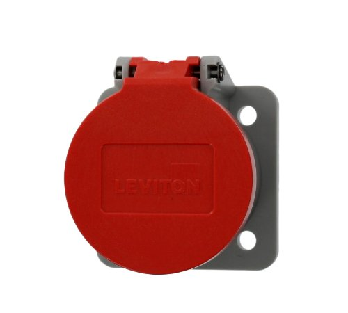 Leviton 16S31-R NEMA Type 3R Enclosure with Automatic Closing Lid, Thermoplastic Housing and Cover, Stainless Steel Torsion Spring, Red