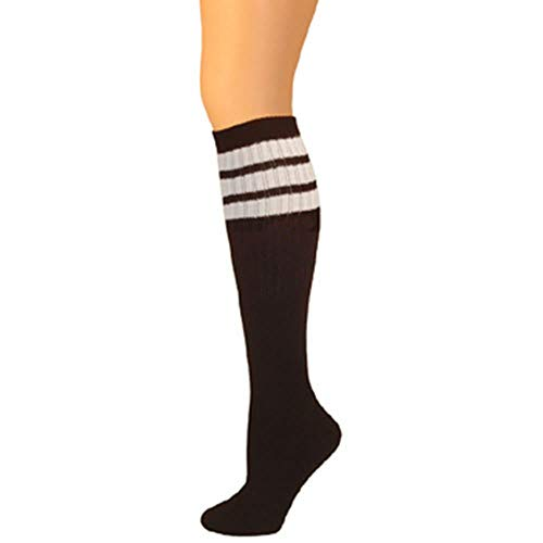 AJs Retro Knee High Tube Socks - Black, White -
