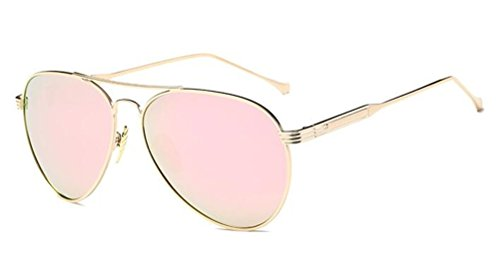 GAMT Classic Aviator Polarized Sunglasses Metal Frame Flat Mirrored Lens for Men and Women Gold-Rose - Quay Discount Sunglasses