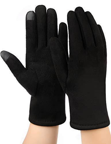 Black Suede Gloves - Women Winter Gloves Touchscreen Warm Black Texting Gloves for Ladies Driving Suede Leather Fleece Windproof