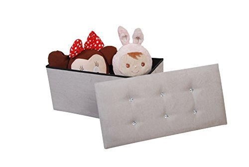 P&N Homewares Large Grey Suede Luxury Ottoman Foot Stool Kids Toy Storage Blanket Storage Ottoman Diamante by P&N Homewares