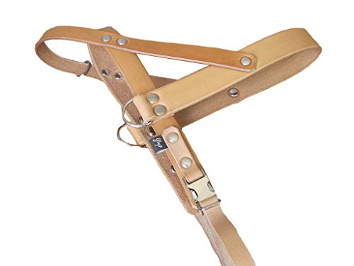 Tan Leather Dog Harness, Ideal for All Breeds, Adjustable Dog Harness, YupCollars, Made in Italy