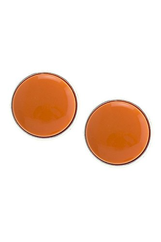 - TRENDY FASHION JEWELRY OVERSIZED DOMED CLIP EARRINGS BY FASHION DESTINATION | (Orange)