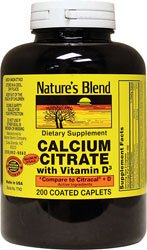 Nature's Blend Calcium Citrate 630 mg with D3 400 IU 200 Caplets
