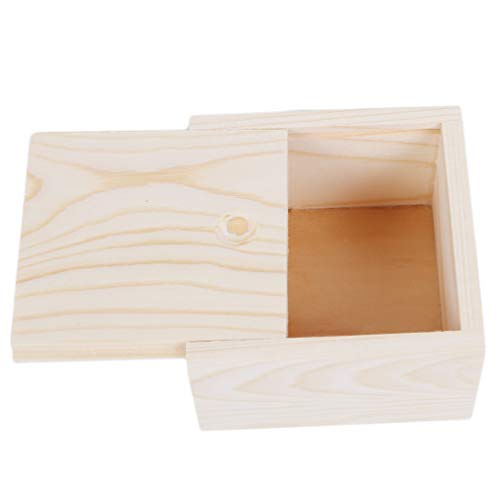 (Essencedelight Wooden Hollow Unfinished Wood Classic Box Storage Box with Slide Top)