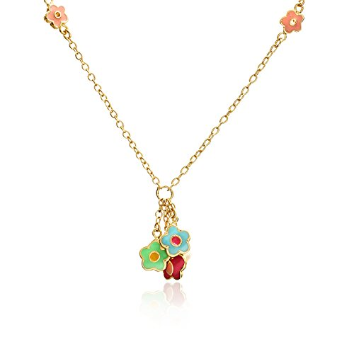 rs 14k Gold-Plated Multicolor Enamel Butterfly and Flower Dangle Chain Necklace (Flower Chain Dangle)