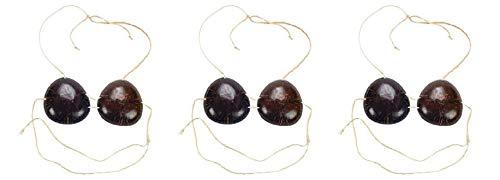 HAPPY DEALS ~ Set of 3 - Adult Genuine Coconut Bras - Luau Costume]()