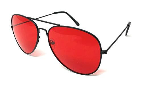 Classic Aviator Sunglasses Metal Teardrop Shape Mens Womens (Black, ()