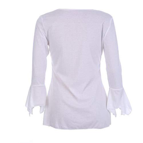 Tops T ChemisierCol Imprim Casual Classique Blouse Chic Innerternet Blanc Haut Fluide 4 V Fleur Longues 3 Manches Femme lgante Shirt 7CvxqvgwTn