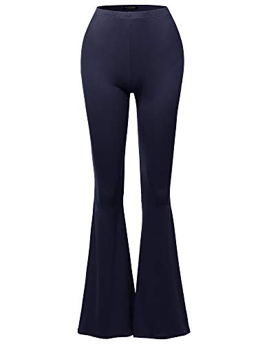 SSOULM Women's Lightweight High Waist Bell Bottom Flared Pants Navy ()
