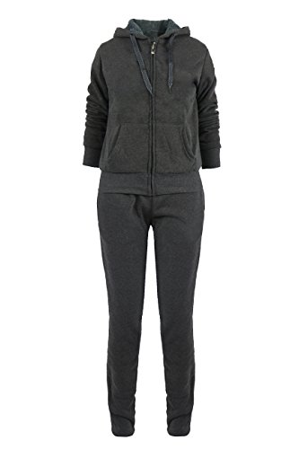 Women's Athletic Fleece 2Pcs Zip Hoodie & Sweatpants Tracksuit Set Dark Grey Plus 1XL