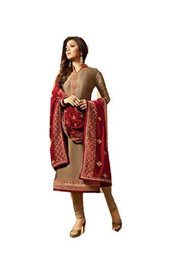Delisa Designer Wedding Partywear Silk Embroidered Salwar Kameez Indian Dress Ready to Wear Salwar Suit Pakistani LTN (Brown, X-SMALL-36) ()