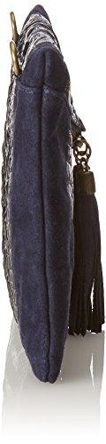 de mujer piel hecho Italia genuina 29x19x2 de Cm para Azul bolso hombro en clutch pequeno Blu CTM E8U0q0