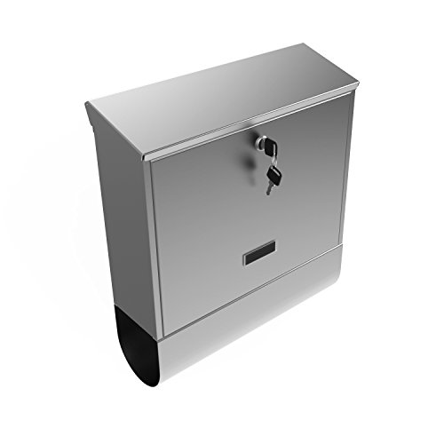 Superior Mailbox Post (Modern Wall Mount Mailbox With Lock - Water Proof Post Box Stainless Steel Letterbox with Retrieval Door & Newspaper Roll [US STOCK] (Type 1))