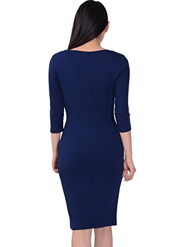 Miusol Women's Square Neck Busniess Peplum Fitted Casual Bodycon Dress Medium Navy Blue
