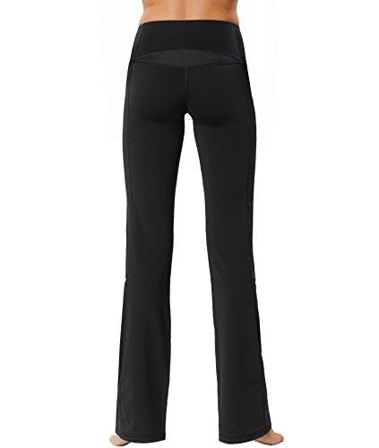 Control Bootcut Legging - Gwinner Women's High Waist Straight Leg Boot Cut Yoga Leggings with Tummy Control Sport Pants Workout Fitness - Large - Black