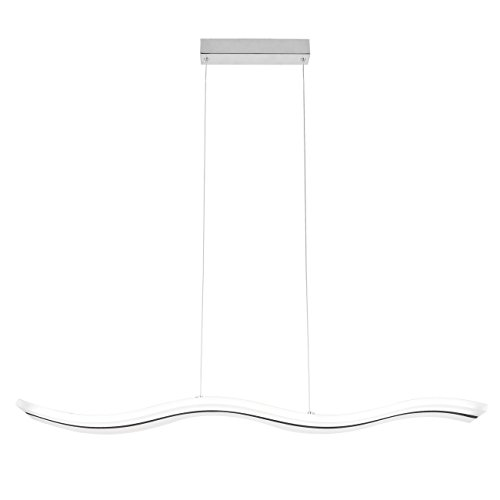 - Unitary Brand Modern Acrylic Wave Shape Nature White LED Island Light with Max 40W Chrome Finish