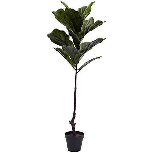 Nearly Natural Fiddle Leaf Indoor/Outdoor UV Resistant Tree, 4' (Plants Indoor Faux)