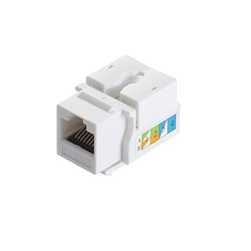 TENINYU 5-Pack RJ45 Keystone Jack Module Connector 568A/568B, Keystone Adapter Compatible Cat 6/5e/5 Connector,White