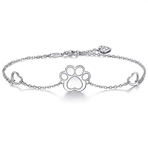 AmorAime S925 Sterling Silver Dog Cat Paw Print Bracelet Heart Charm Adjustable Chain Bracelet Great Gift for Pet Lover by AmorAime