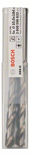 Bosch 2608596832 Forets /Ã/ m/Ã/©taux rectifi/Ã/© HSS-G DIN 340 /Ã/˜ 10 mm 5 pi/Ã/¨ces