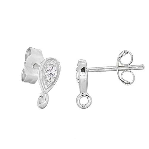 ling Silver CZ Teardrop Stud Post Earring Connector, Rhodium Plated ()