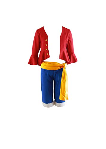 Mtxc Men's One Piece Cosplay Costume Monkey D. Luffy 4th Size Large Red]()