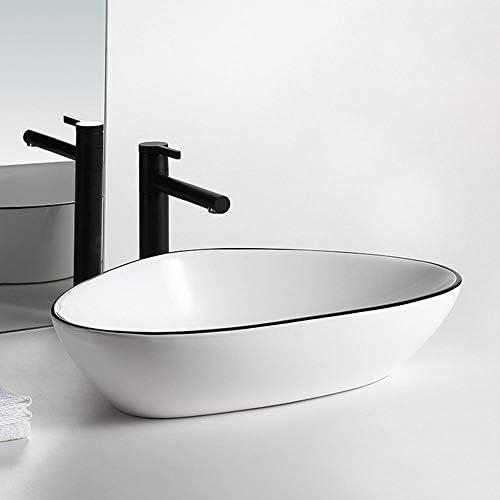 洗面ボウル 浴室の容器シンク舟形キャビネット洗面化粧台については、上記カウンターセラミックカウンターシンク 洗面器 (Color : Black border, Size : 59x39x14cm)