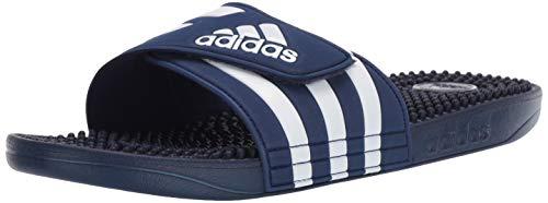 adidas Adissage, White/Dark Blue, 9 M US