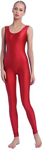 Speerise Women Lycra Spandex Nylon Tank Dance Unitard Bodysuit, Red, S