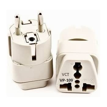 Amazon Com Vct Vp 109 Universal Travel Grounded Plug Adapter For Germany Spain Netherlands