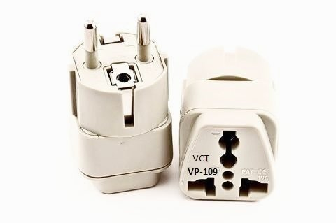 VCT VP-109 Universal Travel Grounded Plug Adapter For Germany, Spain, Netherlands, Russia South America Brazil