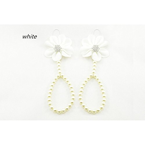 Sunluxy Mall BF26patas perlas, Modelo Flower brillantes, colori diferentes blanco blanco Talla:talla única blanco