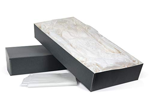 Gaylord Archival Blue/Grey Wedding Dress & Textile Preservation Box with Tissue Paper - 18W x 30L x 6H