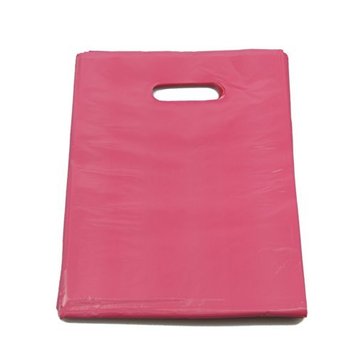 """100 x Small Pink Punch Out Handle Gift Fashion Party Market Plastic Carrier Bags 7.25"""" X 10"""""""