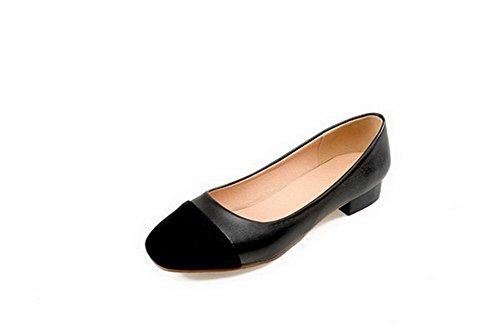 Noir Femme Mélangées VogueZone009 Légeres Carré Chaussures Matière Couleurs à Mélangee Talon Bas HwwxPZdO
