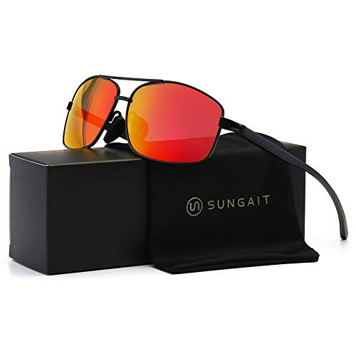 SUNGAIT Ultra Lightweight Rectangular Polarized Sunglasses UV400 Protection (Black Frame Red Mirror Lens, 62) Metal Frame 2458 ()